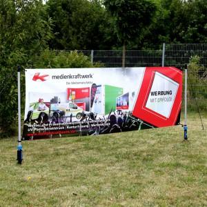 NEU – Outdoor Banner 3x1m mit Bodendübel